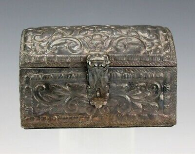 VTG Sterling Silver 925 Ornate Floral Repousse Treasure Chest Jewelry Box NR DFC