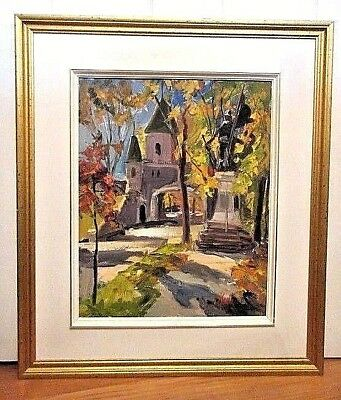 Canadian, Oil On Board Painting By Artist Jean Leduc / Porte St-Louis, Quebec,
