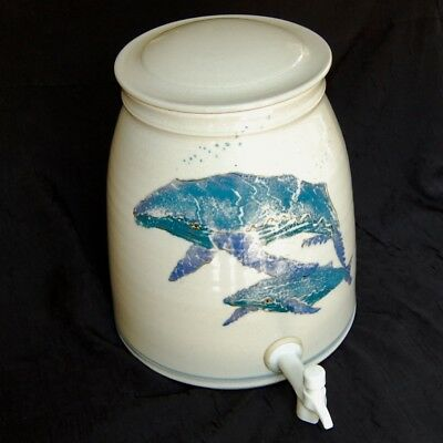 2 Gallon HENDRY Whale Pottery WATER Tea DISPENSER Jug Jar Ceramic CROCK & LID