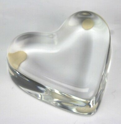 Baccarat France Signed French Crystal Valentine Heart Glass Desk Paperweight KBA