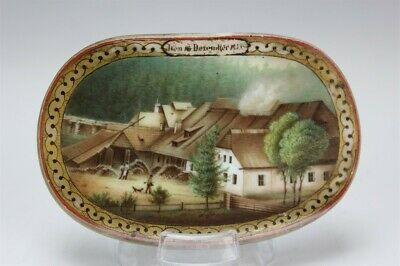 Antique German 1853 Hunting Lodge Scene Hand Painted Oval Porcelain Plaque SUZ