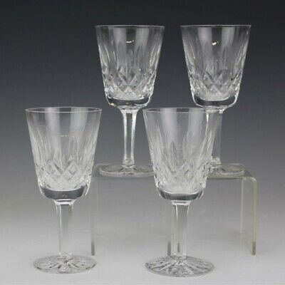 Set 4 Waterford Crystal Lismore 1957 Art Glass White Wine Bar Barware Goblet SUZ