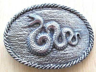 Vintage COBRA VIPER BOA SNAKE Silver Pewter Oval Belt Buckle Limited Edition