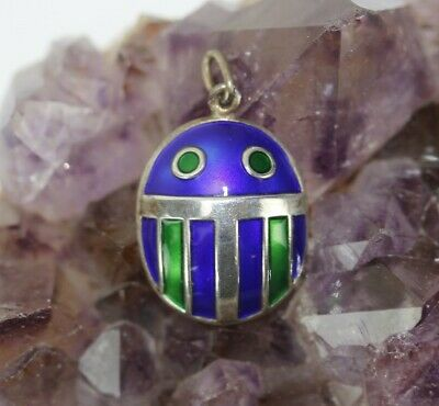 Signed DA David Andersen Green Blue Enameled Sterling Silver Scarab Pendant SMS