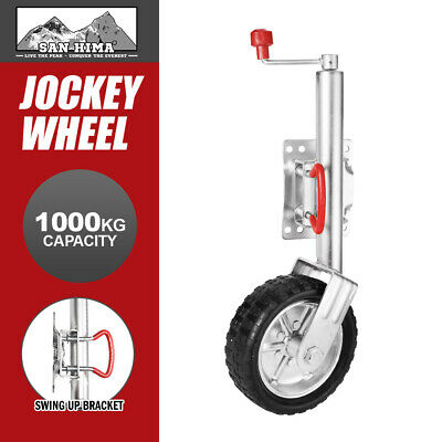 "10"" Jockey Wheel Swing Up Solid Wheel 1000Kg Caravan Boat Trailer Greasable"