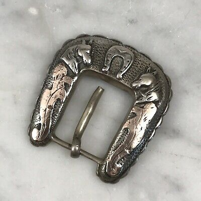 Vtg Mexico Silver Taxco Horseshoe Equestrian Horse Belt Buckle Gold Wash Western