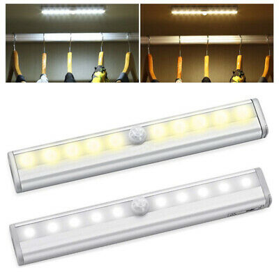 2x 10 LED PIR Motion Sensor LED Night Light Battery Operated with Magnetic Strip