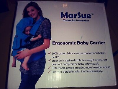 MarSue 100% Organic Cotton Ergonomic Baby Carrier with Hip Seat and Detachabl...