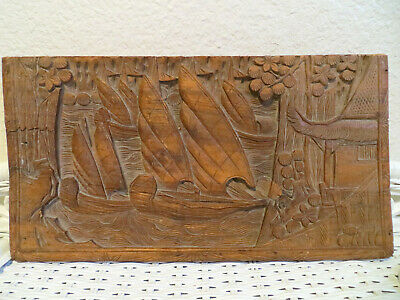 Antique Vintage Chinese Wood Carved Panel Box Lid Boats Ships Relief Carving
