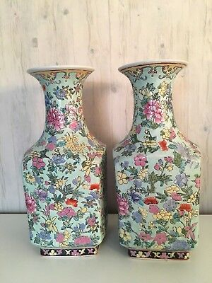Pair of Vintage Chinese Hand Painted Famille Rose Floral Porcelain Vases