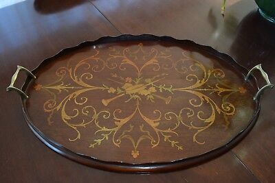 Antique marquetry music room tray