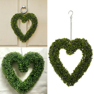 Green Artificial Plant Topiary Heart Hanging Love Wreath Wedding Party Decor