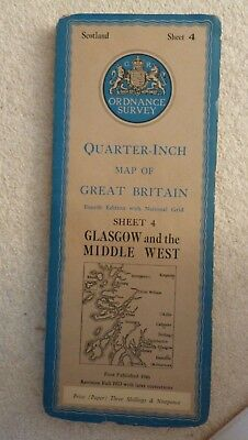 Vintage Ordnance Survey Map Of Scotland,Glasgow And The Middle West