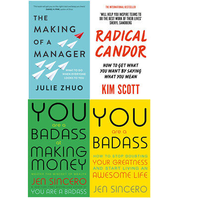 The Making Of A Manager,Radical Candor,You Are A Badass 4 Books Collection Set
