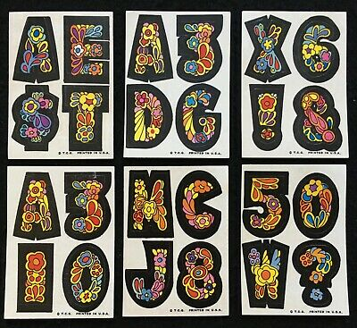 1968 Love Initials 10c Stickers 6 Small Number/Letter Topps Variations-Very Good