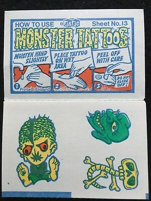 A&BC 1970 Monster Tattoos No.13 Unused Complete Transfer Sheet - FCC