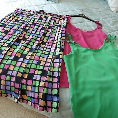 Jacques Vert Size 18 Lined Skirt Plus 2 Matching Cami Tops Fuschia & Emerald