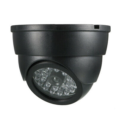 Fake Security Camera Dummy Dome CCTV with Red LED Warning Light Black