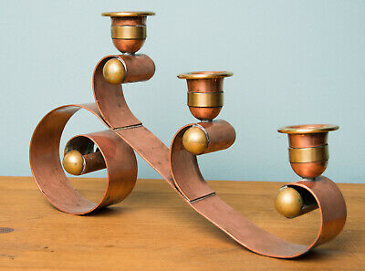 HECTOR AGUILAR Mexican Copper Brass Candle Holder Taxco Candelabra