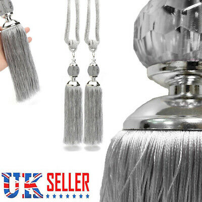 2PCS Curtain Holdbacks Rope Tie Backs Tassel Tiebacks Beaded Ball Decor Silver..