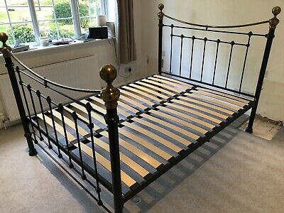 Cast iron and brass king size bed frame with base, Antique/Victorian style.