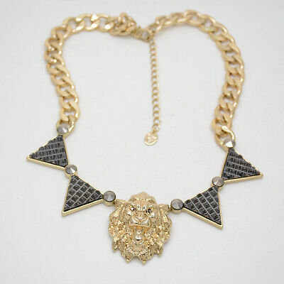 d8eac397eb502e Brand New jewelry two tone gold black punk lion pendant necklace chain for  women