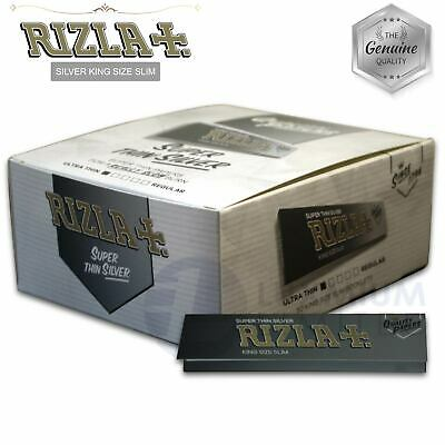 RIZLA SILVER KING SIZE SLIM rolling paper GENUINE Made in Belgium Smoking rizzla