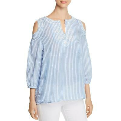 Avec Womens Blue Cold Shoulder Embroidered Pullover Top Shirt XL BHFO 2324