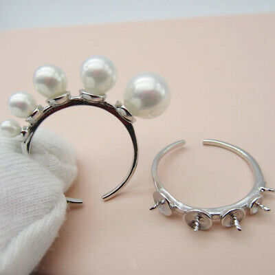 925 Silver Ring Settings Base Bezel Tray Cabochon DIY Ring Jewelry Making