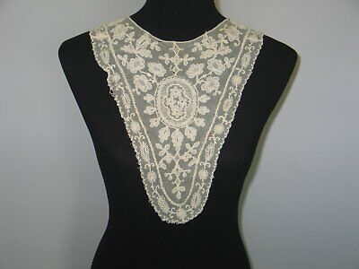Antique Lace Collar / Embroidered French Needle Lace-Ornate Floral Bertha Collar