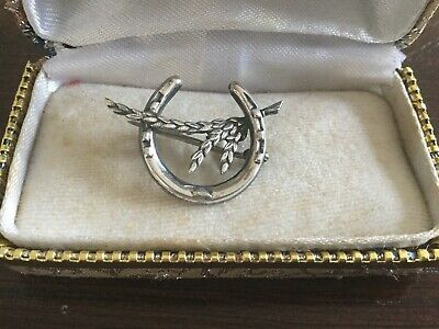 Antique Edwardian Sterling  Silver Horseshoe/Wheat Brooch