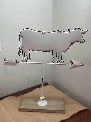 """Weathervane Farmhouse White Metal Cow Sign Rustic Shabby Chic Country New 17"""""""