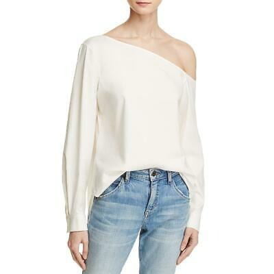 0483629573563b Theory Womens Ulrika White Asymmetric Off The Shoulder Blouse L BHFO 7001