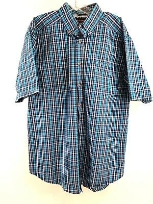 1ef75f3e Ariat Pro Series mens Sz Large blue white plaid short sleeve button down  shirt