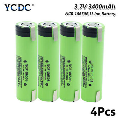 4Pcs 3400mAh NCR18650B Battery High Drain 20A Rechargeable With Tabs Flat Top 0
