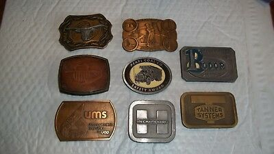 8 Vintage Belt Buckles...Union Pacific, Heckendoro, Bodor Drilling, High Plains