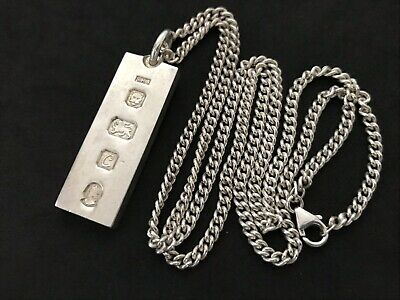 Heavy Vintage Sterling Silver Ingot pendant. Made in 1977. On Long Silver Chain.