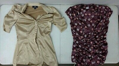 Lot of 2 Womens Size S Polyester Blouse Tops Charlotte Russe & I.N. Gold Burgudy