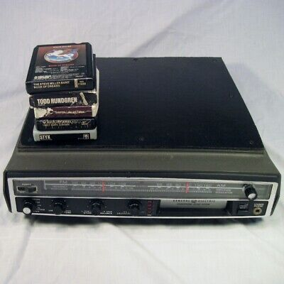 Vtg General Electric GE 8-6750 Stereo 8 Track AM FM Turntable Input w/ 5 Tapes
