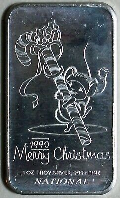 1990 Merry Christmas Mouse & Candy Cane National Tout 1 Troy Once Argent Barre