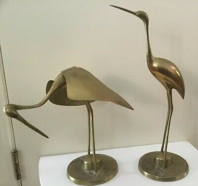 Pair Of Large Vintage Brass Mid Centuary Cranes Egrets Herons