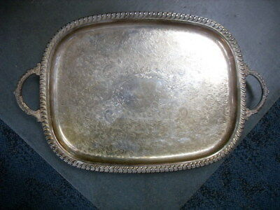 Vintage Leonard Silverplated Footed Double Handled Serving Tray Platter #2437