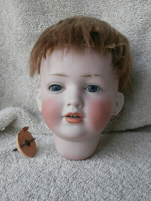"""Rare Character Face 141 Antique Bisque Doll Head 10 1/4"""" Circumference German ?"""