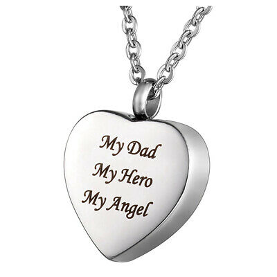 Cremation Jewellery My Dad My Hero My Angel Heart Memorial Urn Necklace Pendant