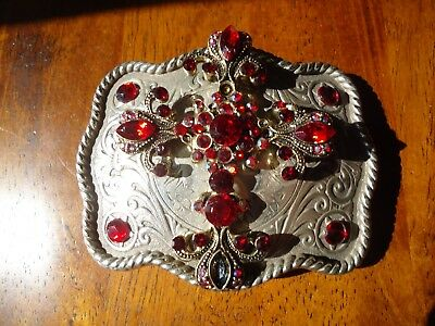 Belt Buckle Bejeweled Cross Goth Punk Unisex Gift approx. 3.5 x 2.75 in (FF)