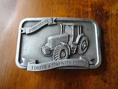 Belt Buckle John Deere I Drive my 7700 With Pride Farmer approx. 3.25 x 2 in(X)