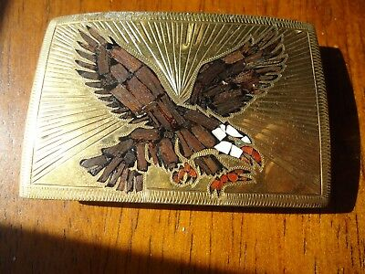 Belt Buckle Inlay Eagle by AD Biker Western Unisex Gift  approx. 3 x 2 in (I)