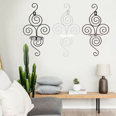 2x Sconce Swirling Iron Hanging Candle Wall Mount Holder Home Outdoor Decoration