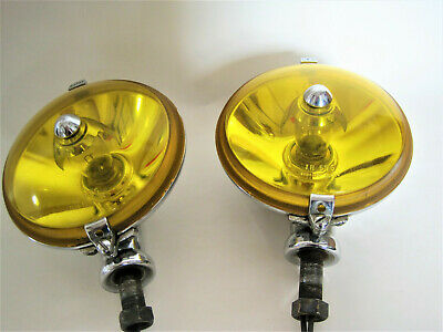 British Pair Lucas SLR 576 Yellow Fog Lamps Original Austin-Healey Jaguar