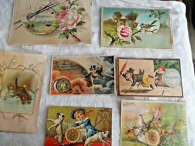 Antique Lot of 7 Victorian Trade Cards & Scrap - Assorted